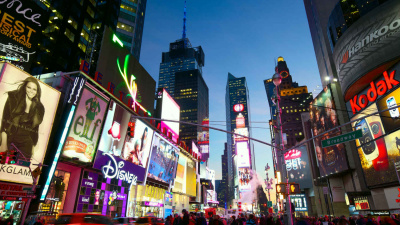 The bright, dazzling lights of digital displays